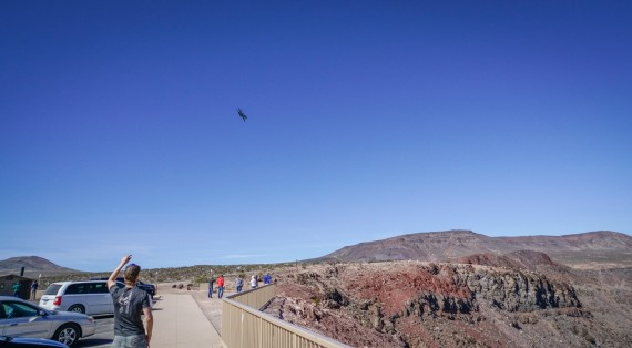 Jet Fighter flying over tourists near Death Valley