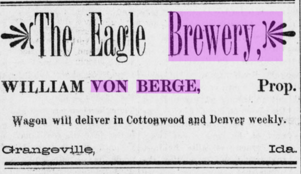 Eagle Brewery Ad Cottonwood Report 6-9-1893
